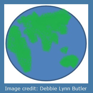 sketch of eastern hemisphere of earth by Debbie Lynn Butler the E-Content Butler