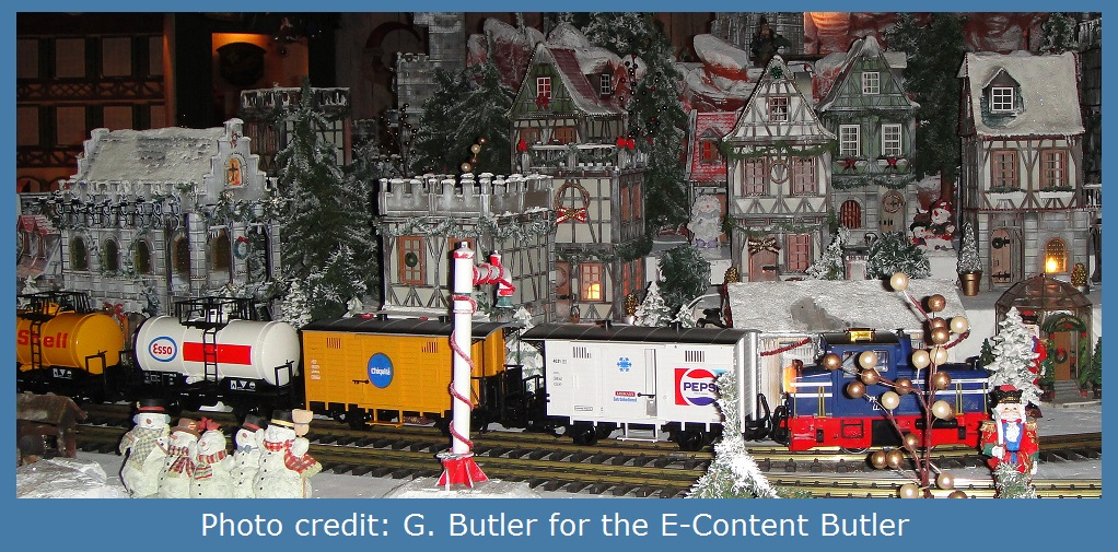 Photo of toy train and village by G. Butler for the E-Content Butler