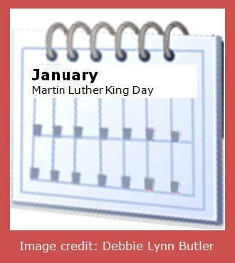 Martin Luther King Day calendar page by Debbie Lynn Butler the E-Content Butler
