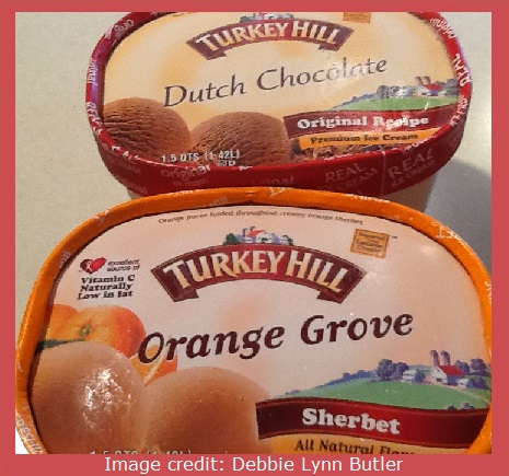 chocolate ice cream vs. orange sherbet by Debbie Lynn Butler the E-Content Butler