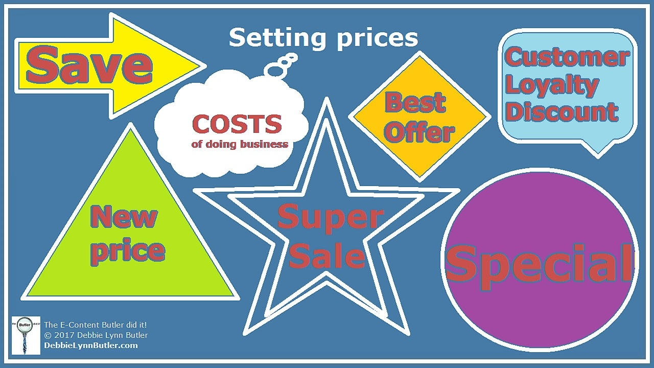 """Setting prices"" and ""costs of doing business"" thought bubble plus pricing signs by Debbie Lynn Butler the E-Content Butler"